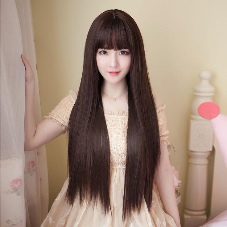 Wig female long straight hair air bangs students black long hair Korean fashion …