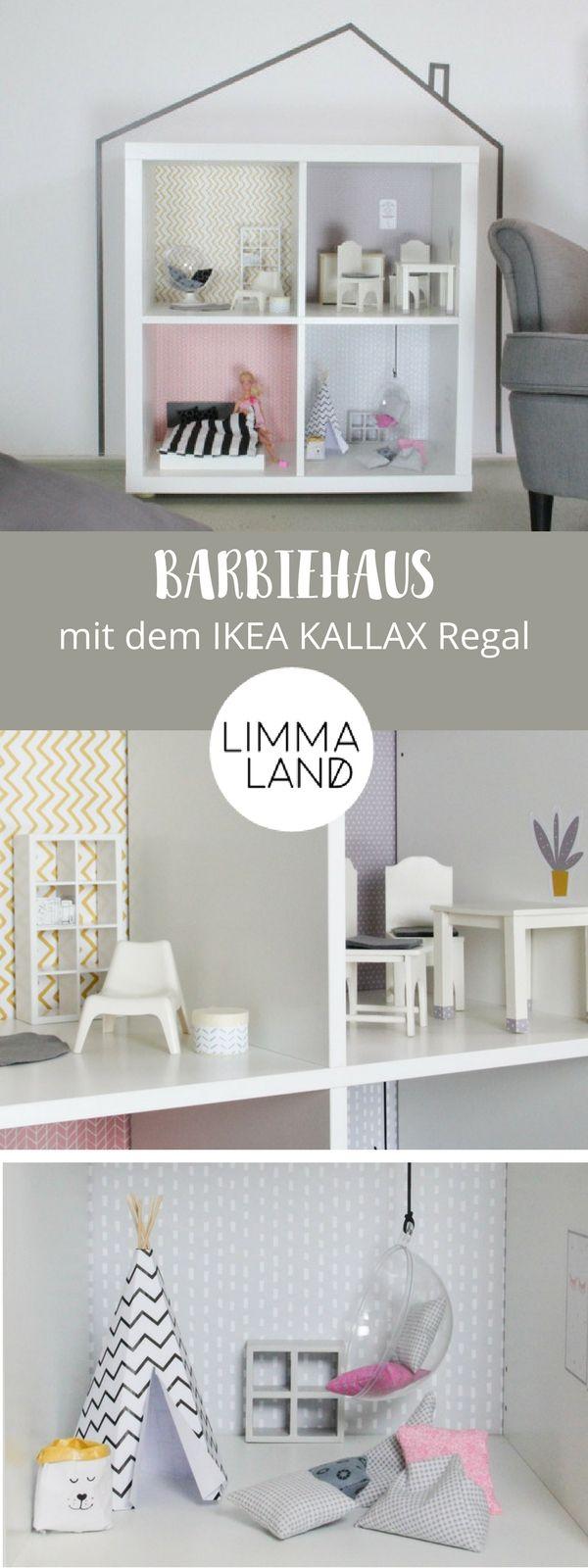 Wandfolie LILLE STUBA für Puppenhaus IKEA KALLAX Regal Rosa/Grau