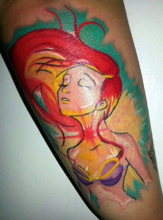 colored-little-mermaid-tattoos