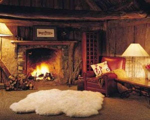 Love the multiple sheepskin rug--especially near the hearth.  Wool is fire-retardant after all!