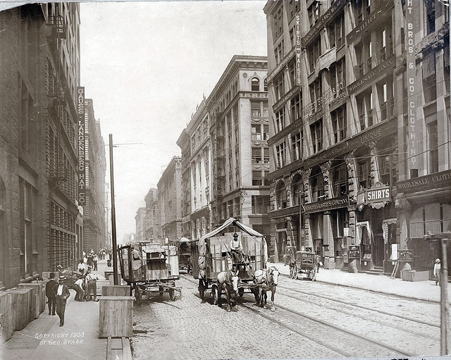 Washington Avenue west from Eighth Street, wholesale district. Photograph by George Stark, 1903.: Louis Streets, Missouri 1903, Photographs, Washington Avenue, 20Th Century, St. Louis