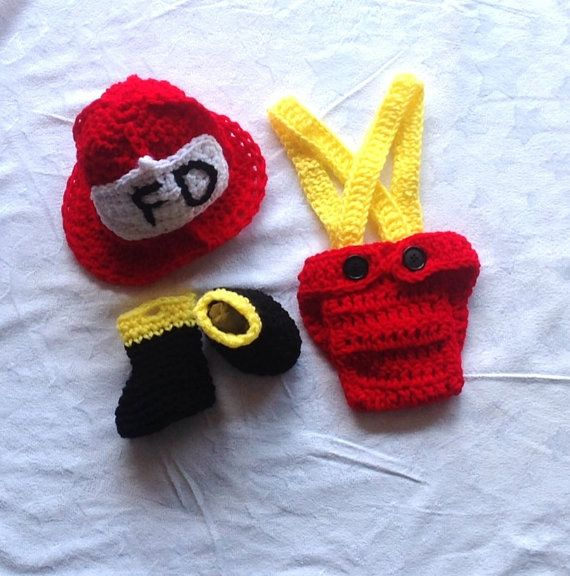 Baby Firefighter Outfit. Crochet Fireman Outfit by ChildishDreams  www.etsy.com/shop/childishdreams