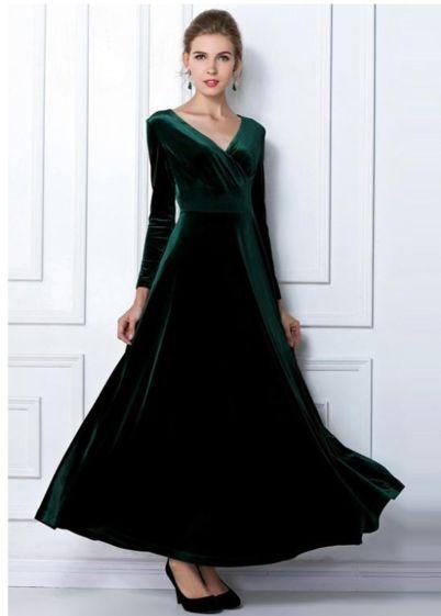Draped velvet long dress - icoolapparel | Scott's Marketplace