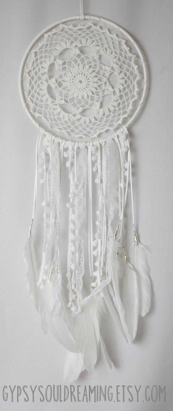 Large White Crochet Doily Dream Catcher With Lace and Goose Feathers