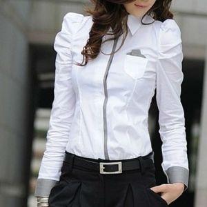 Camisa Feminina em Cotton Manga Bufante Detalhes nos Punhos