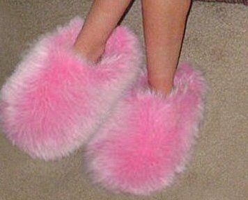 Fuzzy slippers! ( I had these in the 1960's) ld