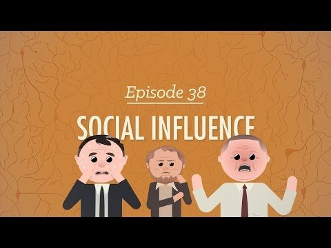 Social Influence: Crash Course Psychology #38 - milgram shock, mimicry, asch line, normative soc influ, soc facilitation & loafing, deindividuation, polarization and grp think