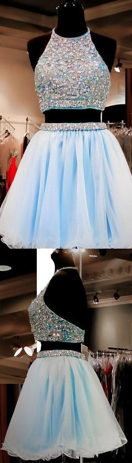 Sky Blue Homecoming Dresses,2 Pieces Homecoming Dress,Tulle Prom Dress,Beaded Cocktail Dresses,Sweet 16 Gowns