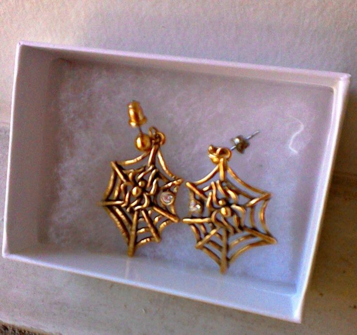 Halloween Gold Tone Spider and Web with Rhinestone Earrings