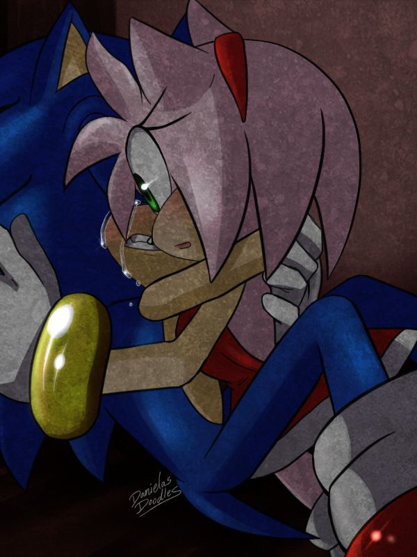 "I could see this happening after a big battle and Amy was gone. Sonic was freaking out and she walks up, completely unharmed, saying her usual ""Hi Sonikku!!!♥"". Sonic would look at her, grab her in a tight hug and just start crying from relief. (and Amy has no idea why....but WE know the truth!!)"