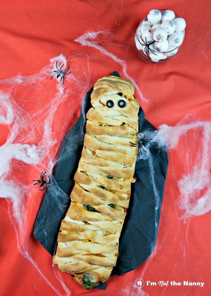 Not so spooky mummy calzone recipe for Halloween