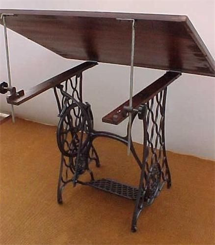 Turn a sewing machine base into a drafting table! (ebay link, but it's inspiration :D)