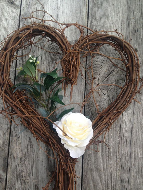 handmade willow heart wreath perfect for your vintage wedding decoration. Ivory rose with foliage