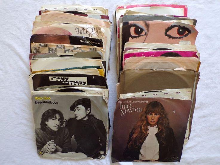 Lot Of 82- 45s Pop Rock Soul 60's - 80's Various Artists Vinyl Records Beatles