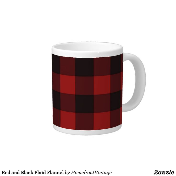 Red and Black Plaid Flannel Giant Coffee Mug Wake up and feel like a lumberjack (by which we mean full of vim and vigor) when you have your coffee in this jumbo red and black flannel plaid mug. Great for a hearty soup serving, too!