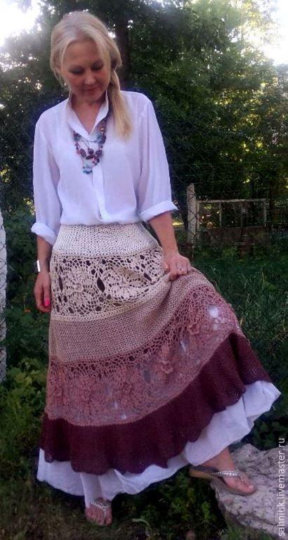 Купить Распродажа - бежевый, юбка, юбка в пол, длинная юбка, Вязание крючком, юбка крючком
