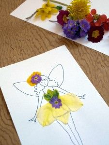 Decorate free printable Fairy dress-up doll with pressed flowers from a walk!