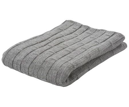 Leichtes Alpaka Strick Plaid Concrete Blocks Grau - Sofa Decken