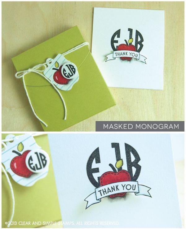 Teacher Monogram Card Set   Clear and Simple Stamps Alpha Monogram Mini - full supply list on blog