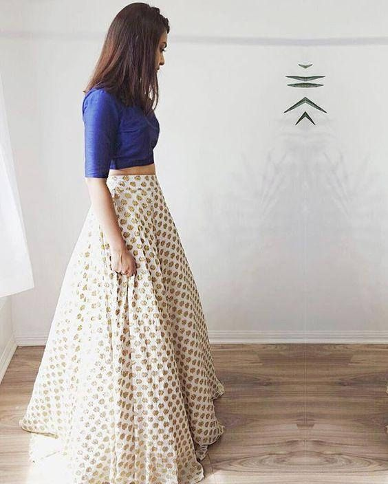 Less is more. Bedazzle in this simply chic chiffon jamawar lehenga/ball gown skirt paired with indian rawsilk royal blue cropped blouse. Lehenga will have side zipper closure, top will also have back concealed zipper. You may request full sleeves for blouse, and longer length.