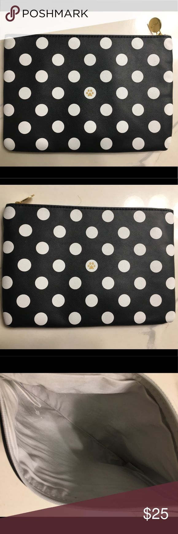 "Polka Dot Clutch or Make Up Bag Adorable polka dot make up bag or clutch. NWOT. In perfect condition, never used. Both sides are identical. White interior. 6""Wx9""H Function & Fringe Bags Cosmetic Bags & Cases"