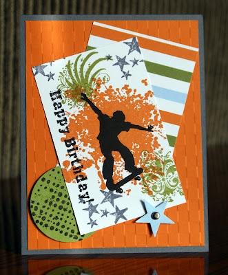 Stampin' Up!  Extreme Elements and Grunge Rock Skater Birthday Card  Krystal De Leeuw