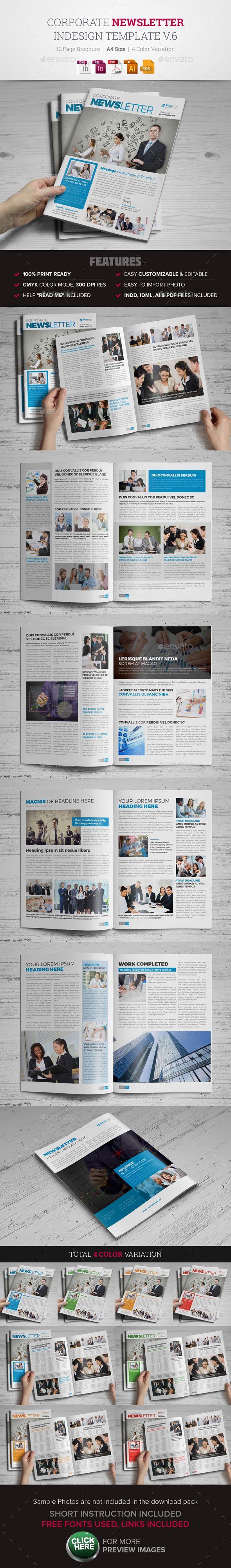 Newsletter Template EPS, AI, InDesign INDD #design Download: http://graphicriver.net/item/newsletter-indesign-template-v6-/13470796?ref=ksioks
