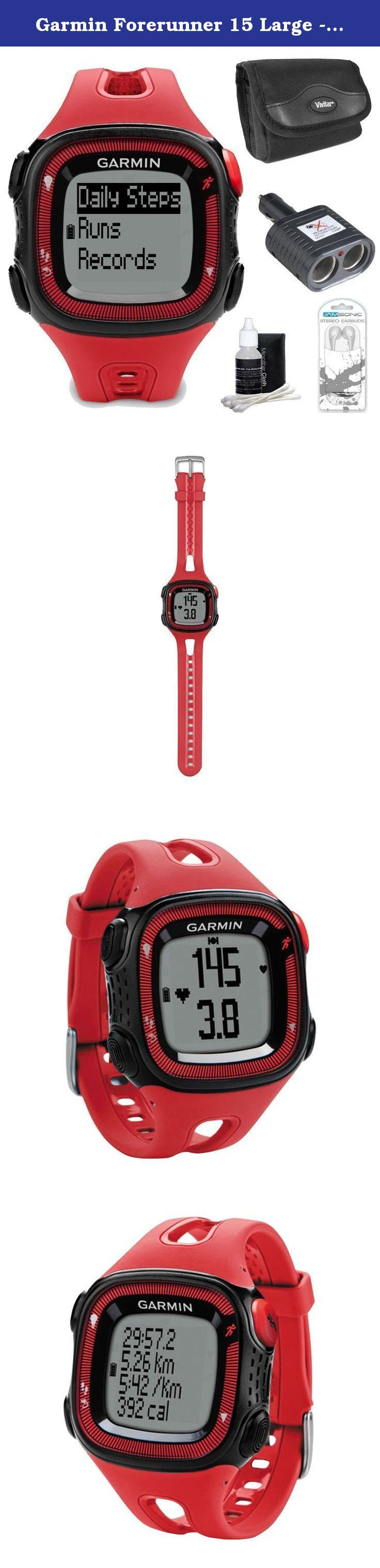 Garmin Forerunner 15 Large - Red/Black Bundle. Monitor Your Activity Between Runs Want to track the steps you take throughout your day when youre not working out? Now you can, without wearing a separate activity tracking device. Forerunner 15 counts your steps and the calories you burn all day. When you upload your data to Garmin Connect, this allows you to monitor your progress toward fitness goals and see overall fitness trends. Forerunner 15 also reminds you when its time to move if…