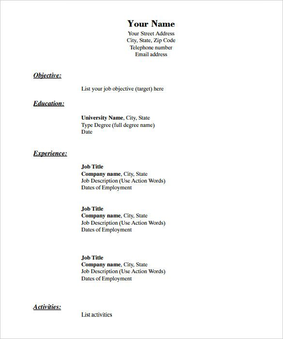 Free Resume Templates Blank Blank Freeresumetemplates Resume Templates Free Printable Resume Basic Resume Downloadable Resume Template