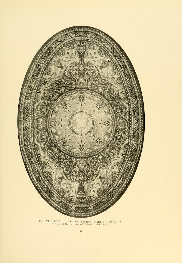see for more - Decorative textiles; an illustrated book on coverings for furniture, walls and floors, including damasks, brocades and velvets, tapestries, laces, embroideries, chintzes, cretones, drapery and furniture trimmings, wall papers, carpets and rugs, tooled and illuminated leathers   by Hunter, George Leland, 1867-1927    Published 1918