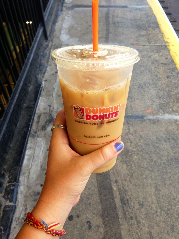 Dunkin' Donuts, iced coffee so delicious the thought of it makes your mouth water.
