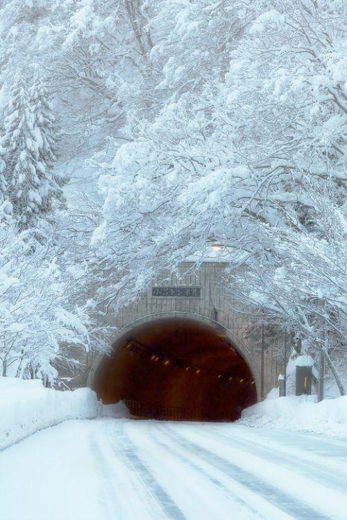 Snow Tunnel - Near Shirakawa-go, Gifu Prefecture in Central Japan