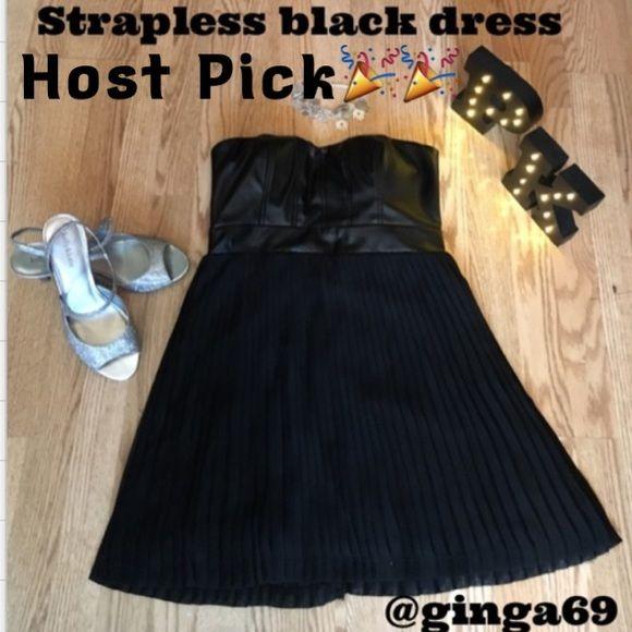 Strapless black dress👠 Strapless black pleated dress✨ As U Wish Dresses Mini