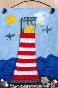 gewebter Leuchtturm - vielleicht als Geschenk von den Kindern an die Nordseeliebende Oma