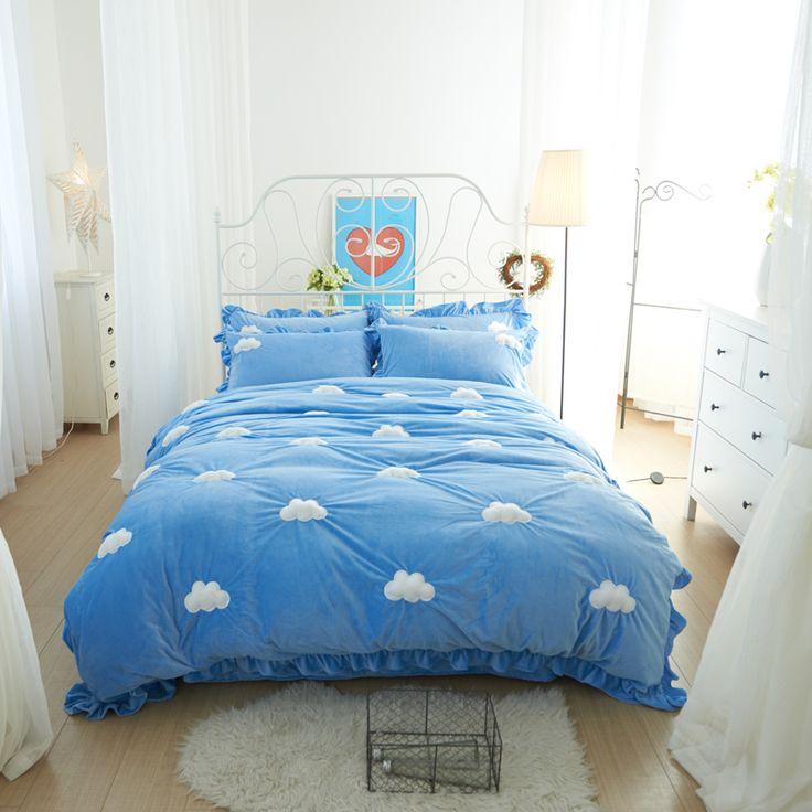 Haute Qualité Ensemble de Literie bleu ciel Linge de Lit Polaire tissu Feuilles Doux Housse de Couette pour La Maison Couvre-lits 4 Pcs Reine taille