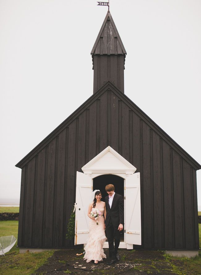 Icelandic black church wedding on green wedding shoes