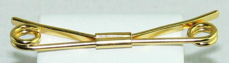 """Curled Ends Gold Tone Vintage Mens Tie Shirt Collar Stay Bar Clip 2.25"""" #Unbranded #TieBarClipClasp"""