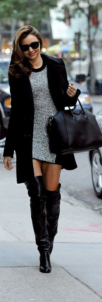 Street style short dress, coat and over the knee boots