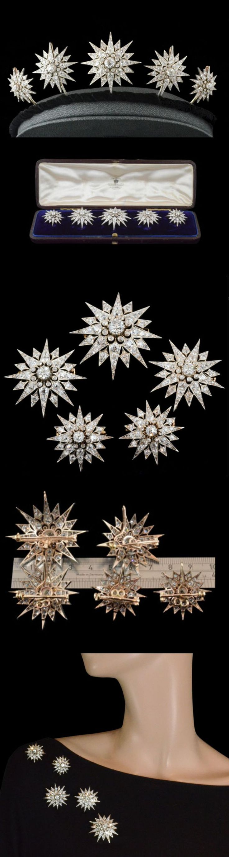 Victorian diamond star tiara with 5 detachable diamond star brooches set with Old mine cut diamonds in silver and 18c gold setting English c.1880. Image Hancock's http://www.hancocks-london.com/acatalog/info_1_BRO119975AM.html
