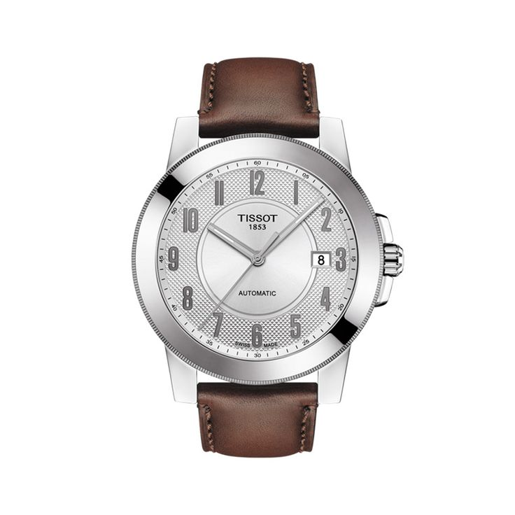 T0984071603200 Ανδρικό Swissmatic ελβετικό αυτόματο ρολόι TISSOT GENTLEMAN με καφέ λουρί & άσημί καντράν | Ανδρικά ρολόγια TISSOT ΤΣΑΛΔΑΡΗΣ στο Χαλάνδρι #tissot #swissmatic #automatic #λουρι