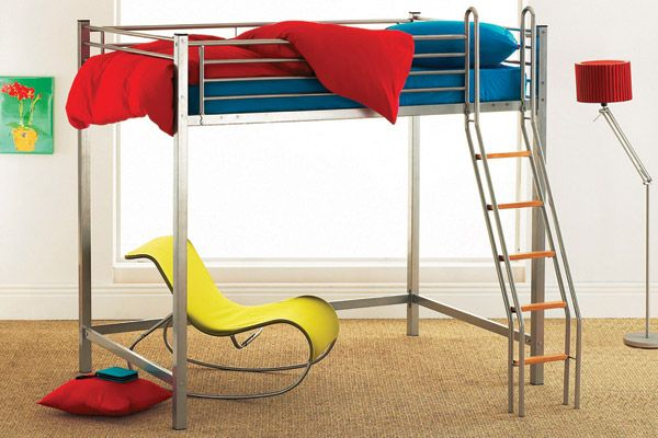 Hyder High Loft Double Bunk bed Complete with Mattress 4ft Small Double Bunk bed 4ft Loft bunk bed in silver, with swimming pool ladder and solid wood steps. Lots of space, suitable for children or adults alike. http://www.comparestoreprices.co.uk/bunk-beds/hyder-high-loft-double-bunk-bed-complete-with-mattress.asp