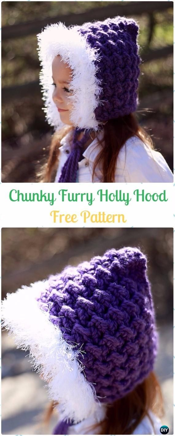 Crochet Chunky Furry Holly Hood Free Pattern - Crochet Hoodie Scarf Free Patterns
