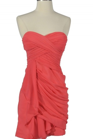 Dreaming of You Chiffon Drape Party Dress in Soft Coral by Minuet $52 (comes in 7 colors)