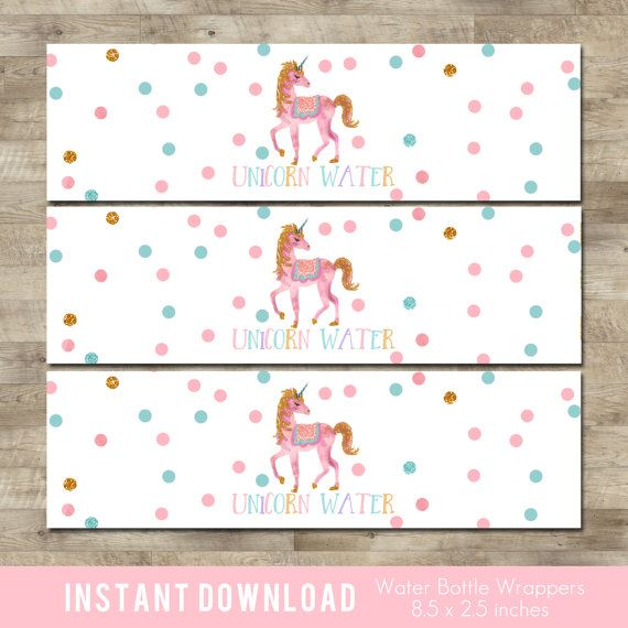 Unicorn Water Bottle Labels, Rainbow Unicorn Water Bottle Wrappers, Gold, pink, aqua, unicorn birthday party T6