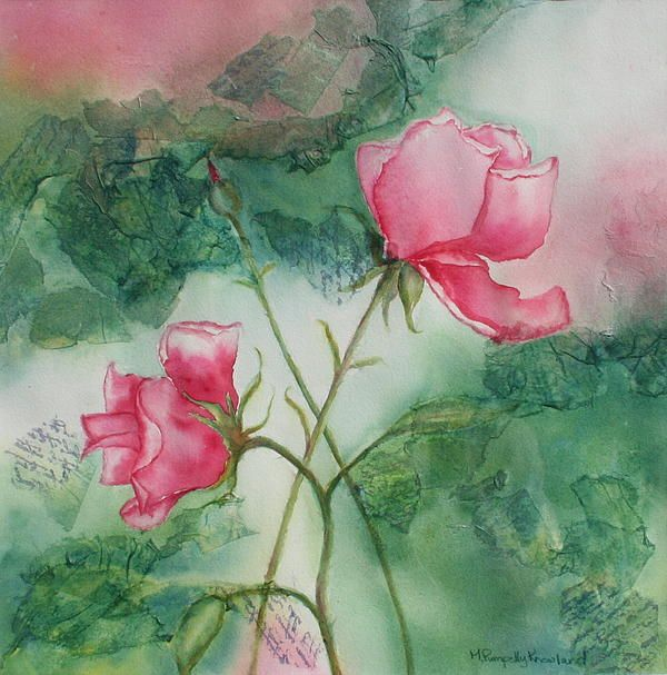 """English Roses - 16""""x16"""" - Watercolour and tissue paper on paper by Mary Pumpelly Knowland www.maryknowland.com  Original - Sold  Prints and cards available"""
