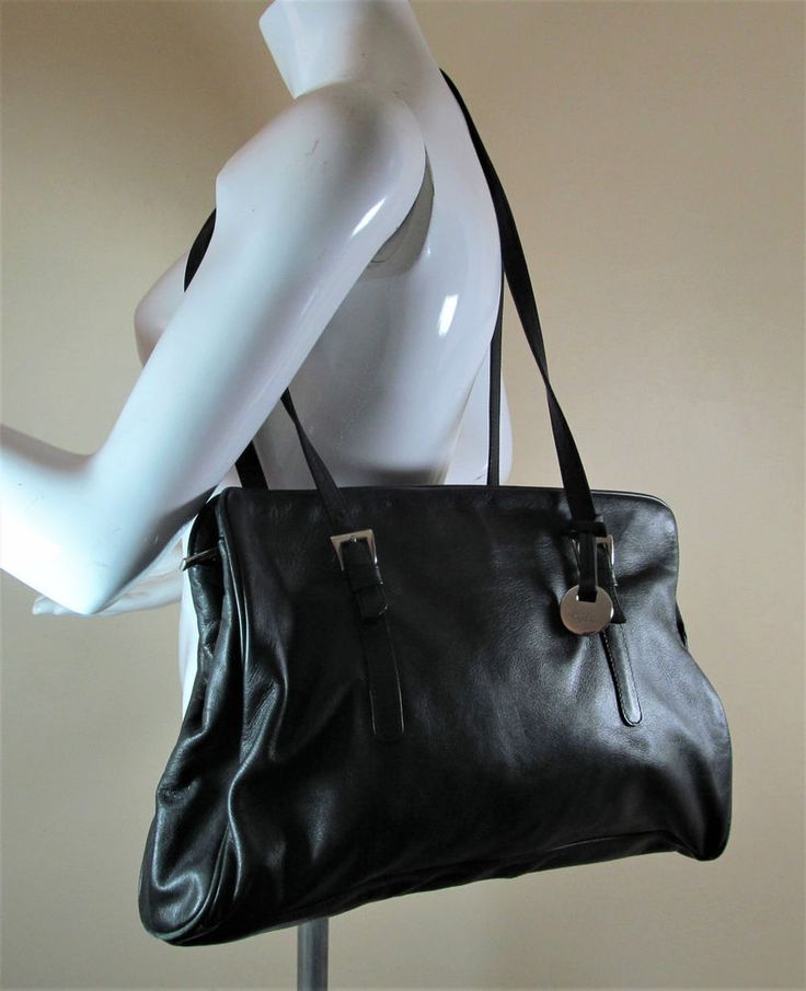 Vintage Tula By Radley Black Soft Leather Shoulder Bag Handbag Purse R15049 Style Fashion