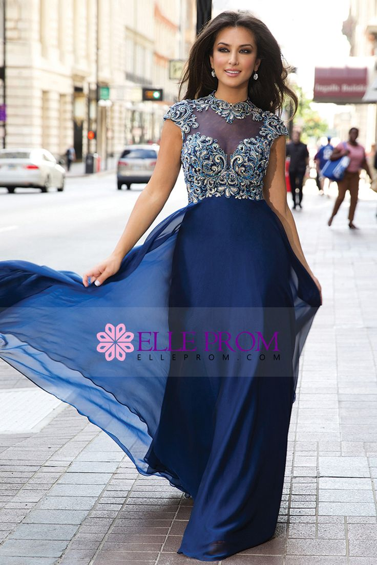 2015 High Neck A-Line Prom Dresses Chiffon Embellished Tulle Bodice With Beads And Embroidery