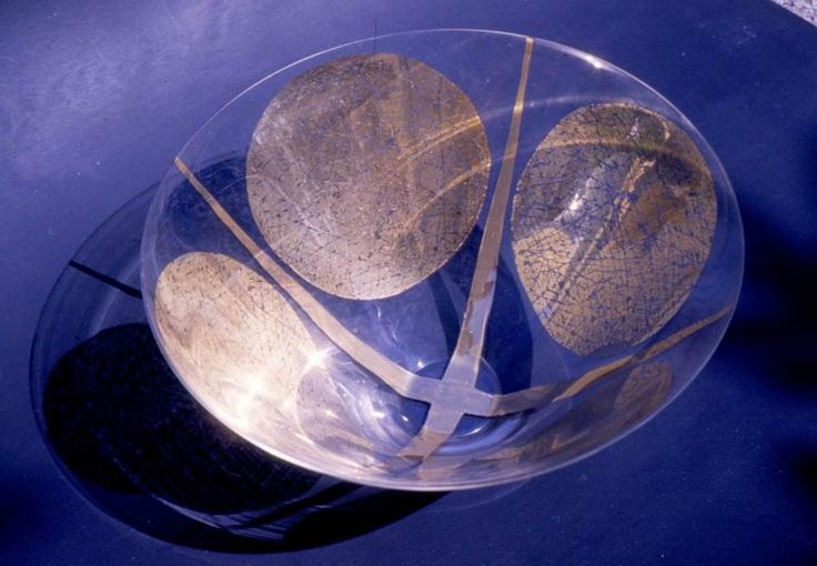 Lubomir Blecha, glass bowl produced for XI. Triennale Milano, light-smoked glass decored by gold, 1957, H: 16,0 cm, D: 28,0 cm, executed by Bohumil Blecha glass rafinery in Kamenicky Senov (Steinschoenau), UMPRUM Prague, (Steinberg foundation, Vaduz, Liechtenstein), Czechoslovakia