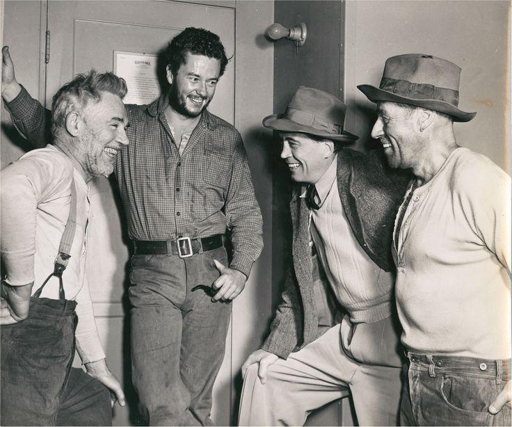 Walter Huston, John Huston, Tim Holt and Jack Holt on the set of The Sierra Mardre