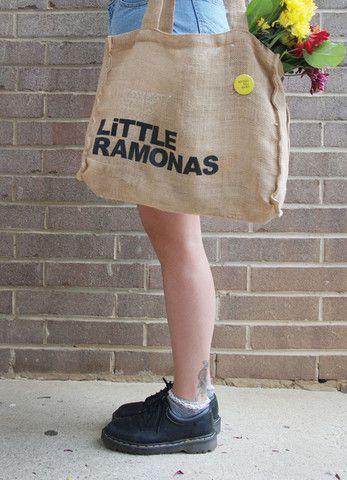 LiTTLE RAMONAS Burlap Tote Bag - LiTTLE RAMONAS